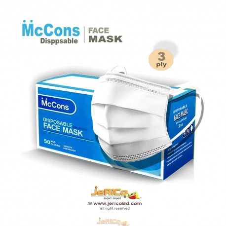 McCons Disposable Face Mask 3ply white, china